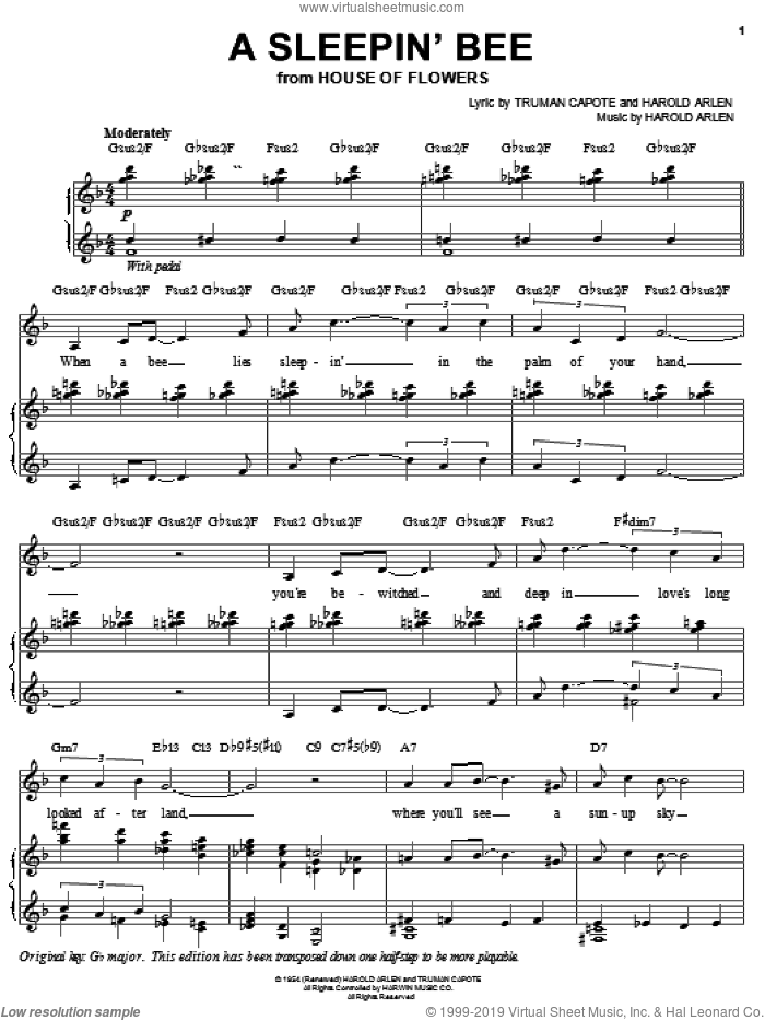 A Sleepin' Bee sheet music for voice, piano or guitar by Audra McDonald, Harold Arlen and Truman Capote, intermediate skill level