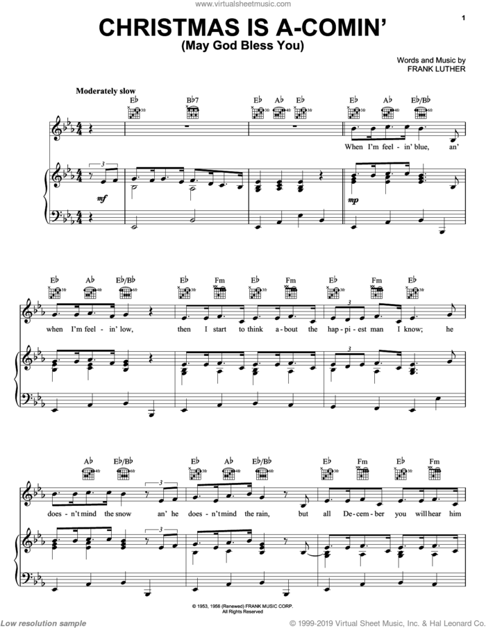 Christmas Is A-Comin' (May God Bless You) sheet music for voice, piano or guitar by Frank Luther, intermediate skill level