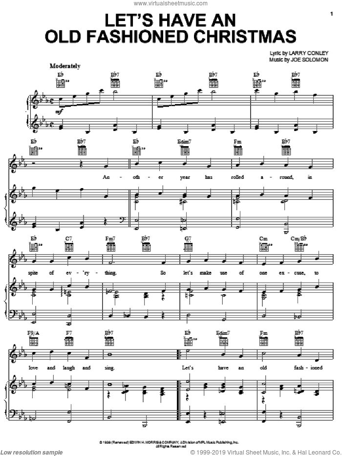 Let's Have An Old Fashioned Christmas sheet music for voice, piano or guitar by Larry Conley and Joe Solomon, intermediate skill level