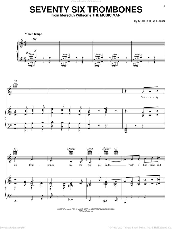 Seventy Six Trombones sheet music for voice, piano or guitar by Meredith Willson and The Music Man (Musical), intermediate skill level