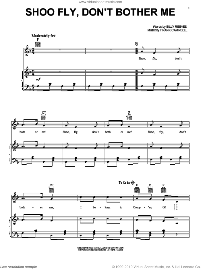 Shoo Fly, Don't Bother Me sheet music for voice, piano or guitar by Billy Reeves and Frank Campbell, intermediate skill level