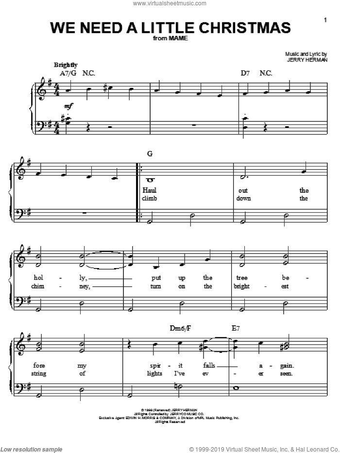 We Need A Little Christmas sheet music for piano solo by Angela Lansbury, Mame (Musical) and Jerry Herman, easy skill level