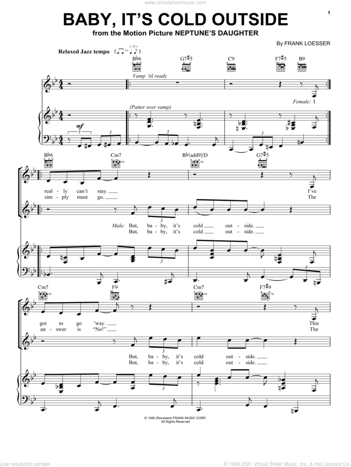 Baby, It's Cold Outside sheet music for voice, piano or guitar by Louis Armstrong, Dean Martin, Dinah Shore, Ella Fitzgerald, Ray Charles, Vanessa Williams and Frank Loesser, intermediate skill level