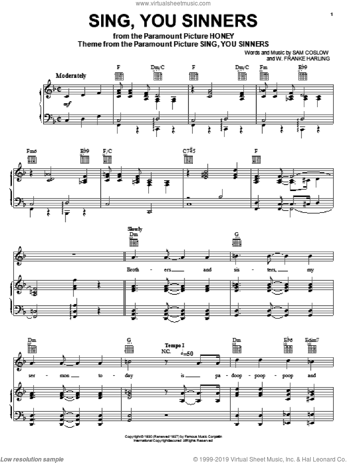 Sing, You Sinners sheet music for voice, piano or guitar by Sam Coslow and W. Franke Harling, intermediate skill level