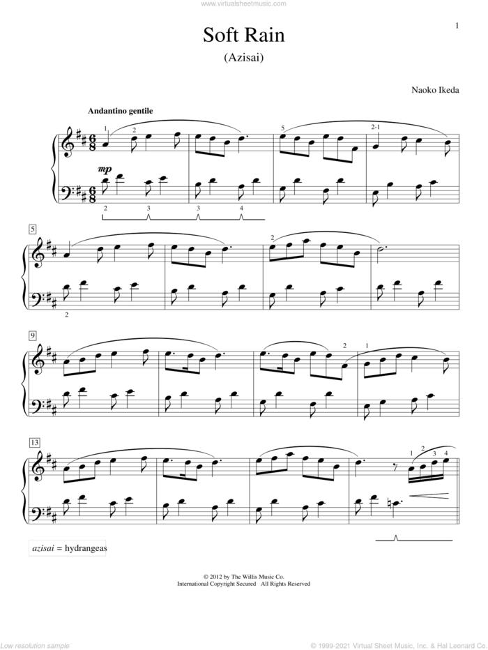 Soft Rain (Azisai) sheet music for piano solo (elementary) by Naoko Ikeda, beginner piano (elementary)