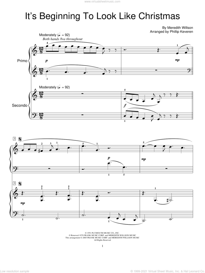 It's Beginning To Look Like Christmas sheet music for piano four hands by Meredith Willson, Phillip Keveren and Miscellaneous, intermediate skill level