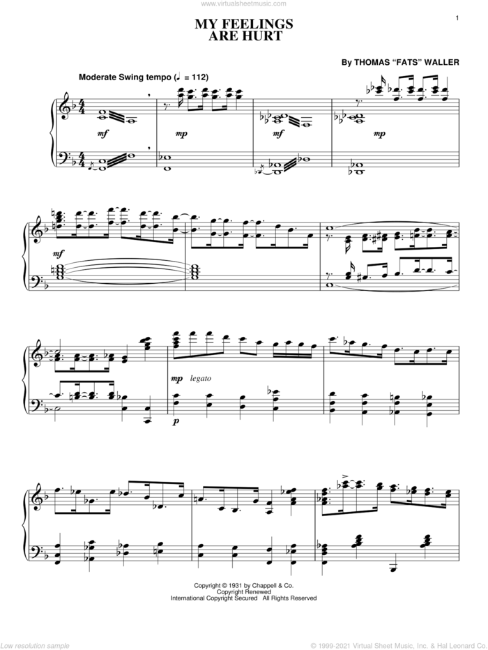 My Feelings Are Hurt sheet music for piano solo by Fats Waller and Thomas Waller, intermediate skill level