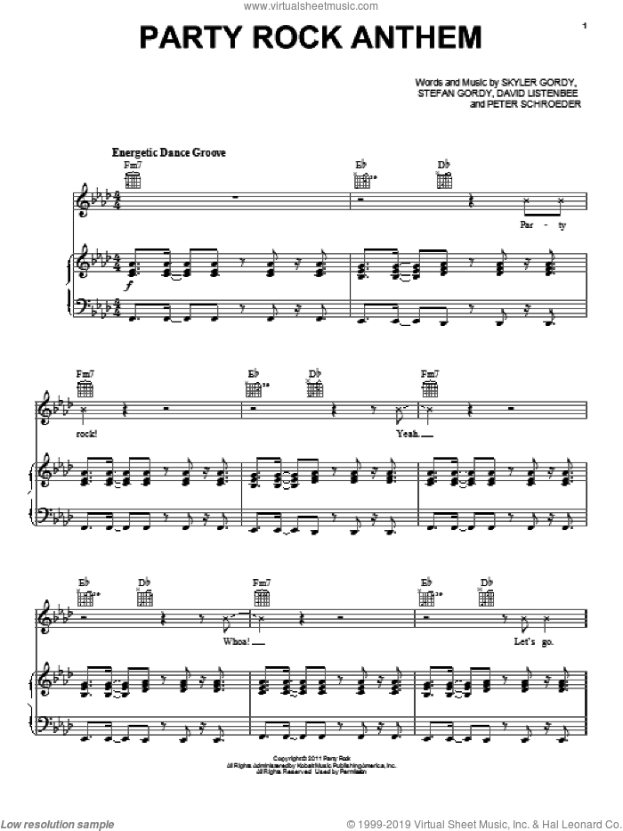 Party Rock Anthem sheet music for voice, piano or guitar by LMFAO featuring Lauren Bennett, David Listenbee, Peter Schroeder, Skyler Gordy and Stefan Gordy, intermediate skill level