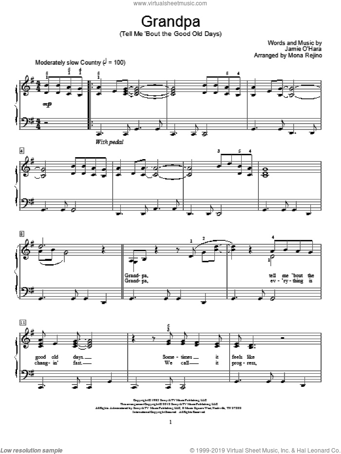 Grandpa (Tell Me 'Bout The Good Old Days) sheet music for piano solo (elementary) by The Judds and Mona Rejino, beginner piano (elementary)