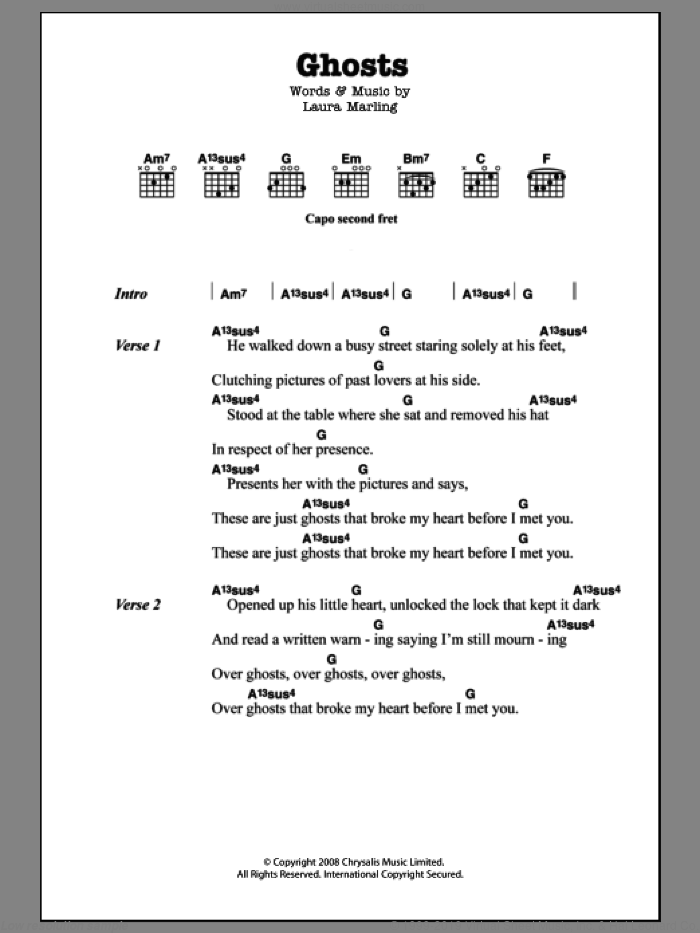 Ghosts sheet music for guitar (chords) by Laura Marling, intermediate skill level