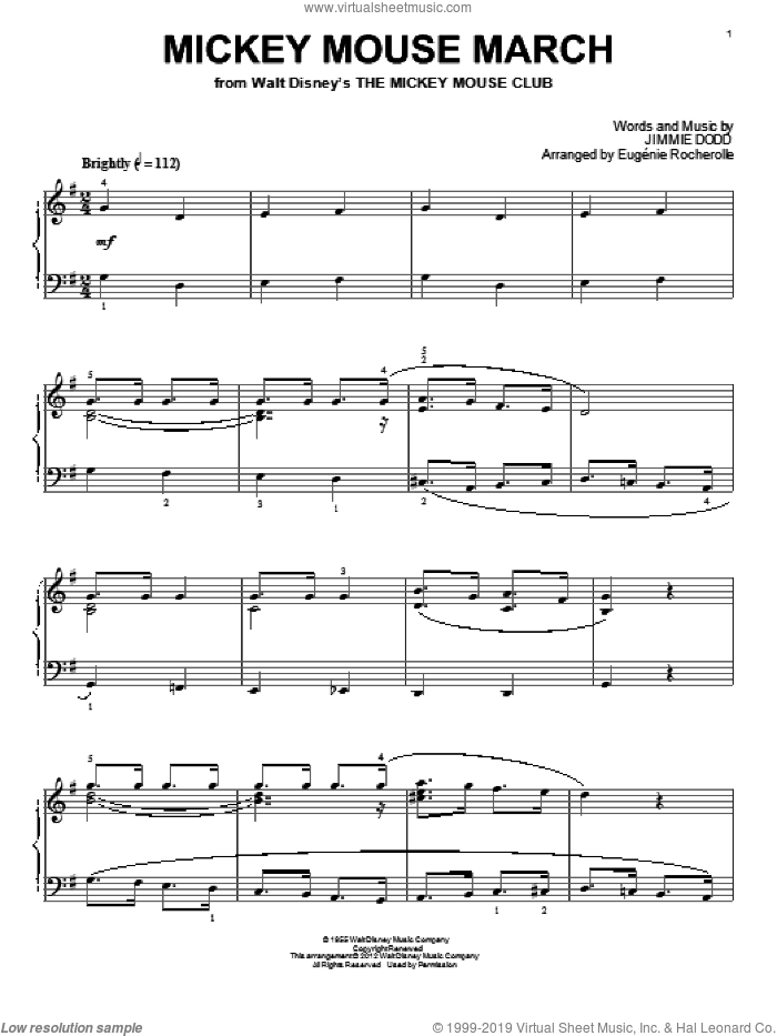Mickey Mouse March sheet music for piano solo by Jimmie Dodd and Eugenie Rocherolle, intermediate skill level