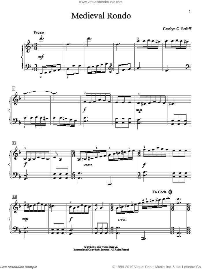 Medieval Rondo sheet music for piano solo (elementary) by Carolyn C. Setliff, beginner piano (elementary)