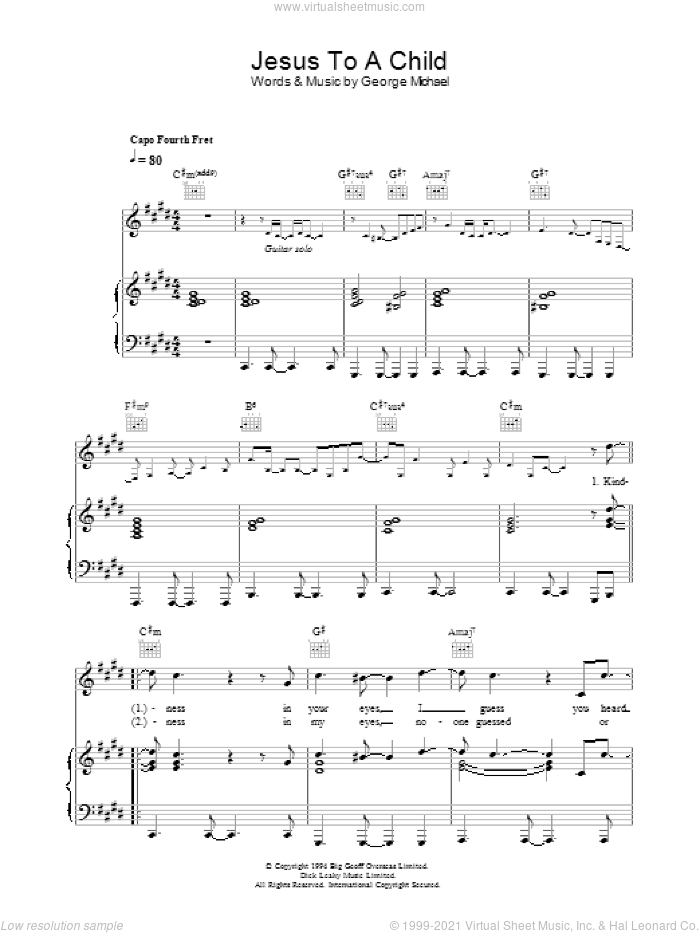 Jesus To A Child sheet music for voice, piano or guitar by George Michael, intermediate skill level