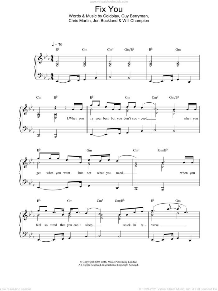Fix You, (easy) sheet music for piano solo by Coldplay, Chris Martin, Guy Berryman, Jon Buckland and Will Champion, easy skill level