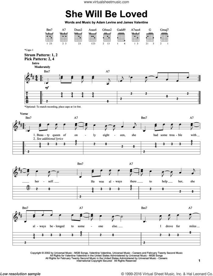 She Will Be Loved sheet music for guitar solo (easy tablature) by Maroon 5, Adam Levine and James Valentine, easy guitar (easy tablature)