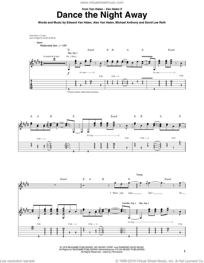Dance The Night Away sheet music for guitar (tablature) by Edward Van Halen, Alex Van Halen, David Lee Roth and Michael Anthony, intermediate skill level