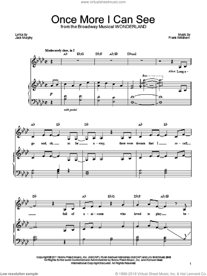 Once More I Can See sheet music for voice, piano or guitar by Frank Wildhorn, Wonderland (Musical) and Jack Murphy, intermediate skill level