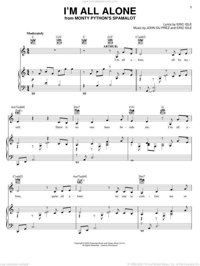 I'm All Alone sheet music for voice, piano or guitar by Monty Python's Spamalot, Eric Idle and John Du Prez, intermediate skill level