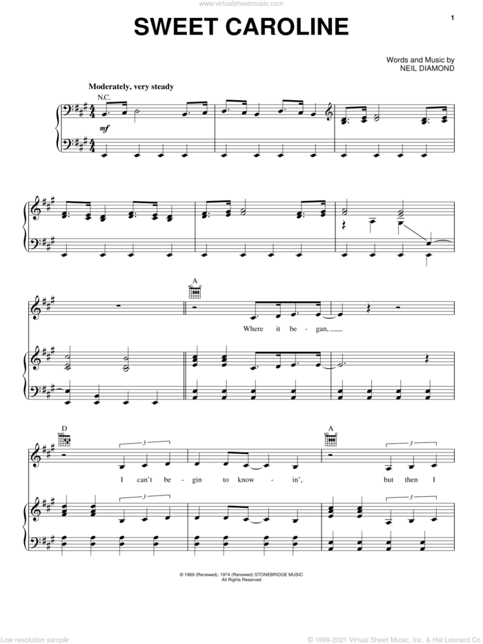 Sweet Caroline sheet music for voice, piano or guitar by Neil Diamond and Miscellaneous, intermediate skill level