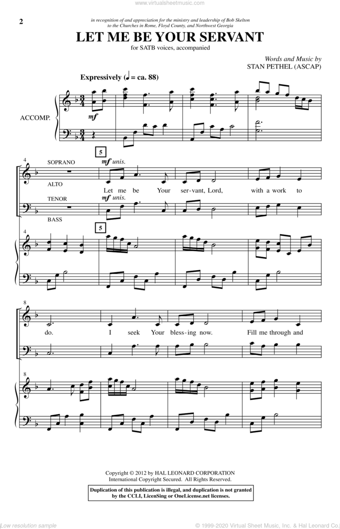 Let Me Be Your Servant sheet music for choir (SATB: soprano, alto, tenor, bass) by Stan Pethel, intermediate skill level