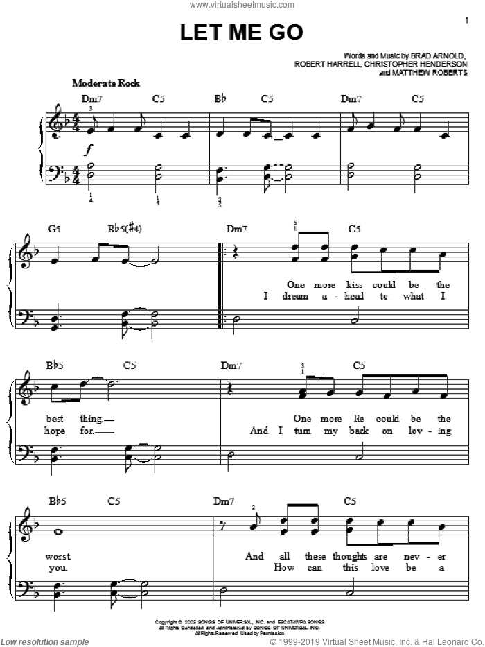 Let Me Go sheet music for piano solo by 3 Doors Down, Brad Arnold, Christopher Henderson, Matthew Roberts and Robert Harrell, easy skill level