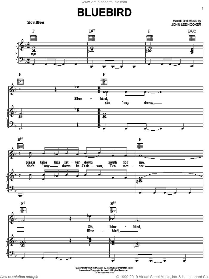 Bluebird sheet music for voice, piano or guitar by John Lee Hooker, intermediate skill level