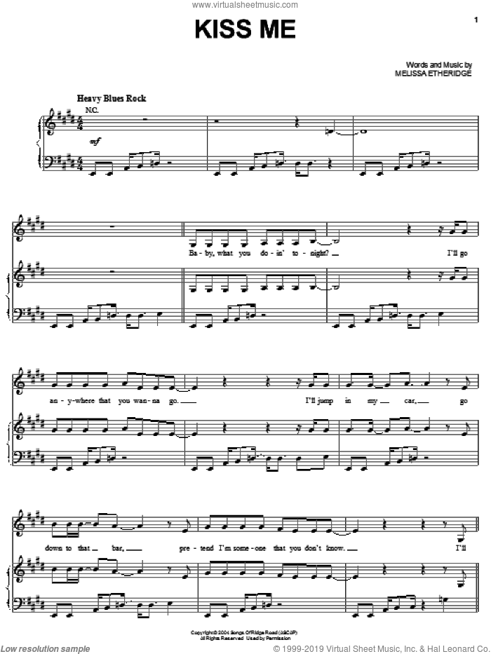 Kiss Me sheet music for voice, piano or guitar by Melissa Etheridge, intermediate skill level