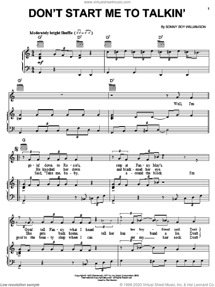 Don't Start Me To Talkin' sheet music for voice, piano or guitar by Sonny Boy Williamson, intermediate skill level