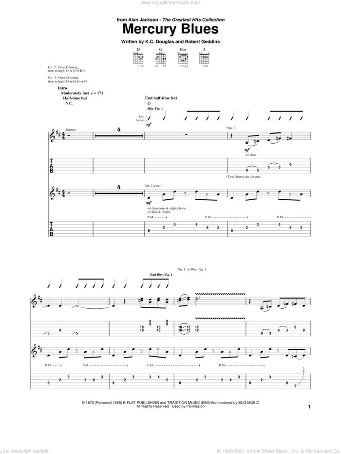 Mercury Blues sheet music for guitar (tablature) by Alan Jackson, K.C. Douglas and Robert Geddins, intermediate skill level