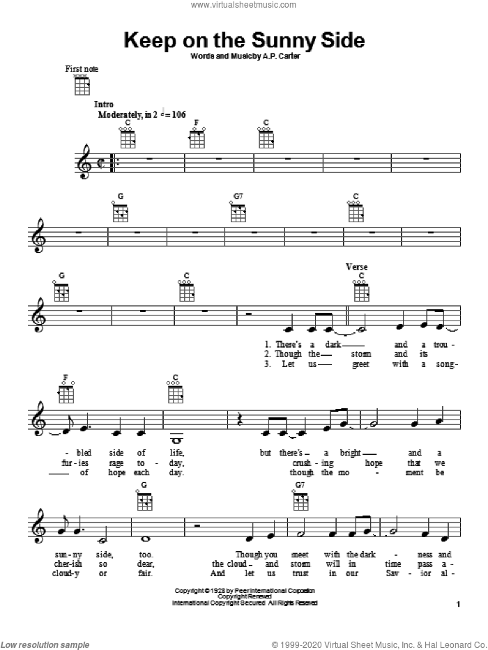 Keep On The Sunny Side sheet music for ukulele by The Carter Family and A.P. Carter, intermediate skill level