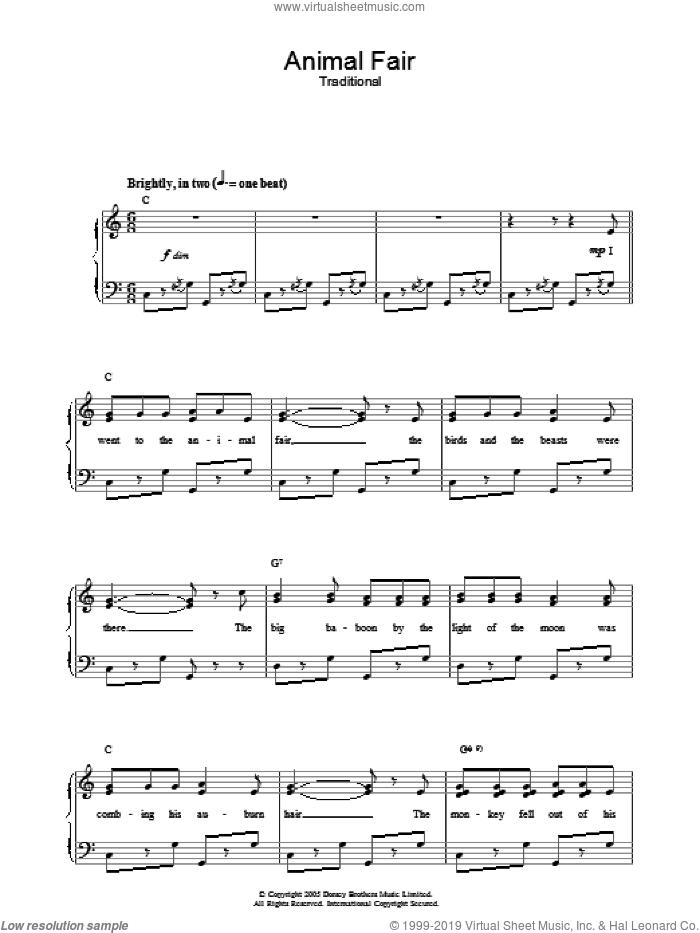 Animal Fair sheet music for voice, piano or guitar, intermediate skill level