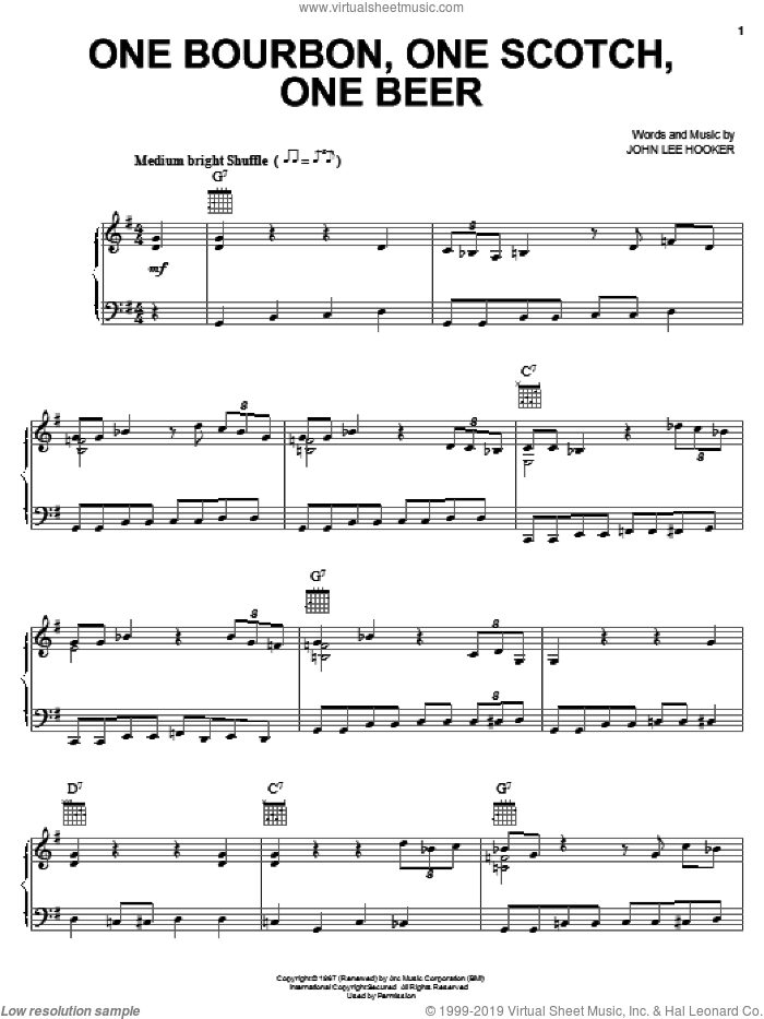 One Bourbon, One Scotch, One Beer sheet music for voice, piano or guitar by George Thorogood & The Destroyers, George Thorogood and John Lee Hooker, intermediate skill level