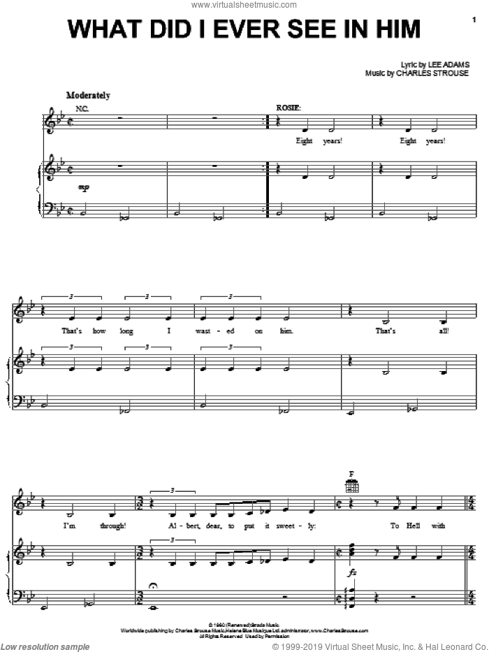 What Did I Ever See In Him sheet music for voice, piano or guitar by Charles Strouse, Bye Bye Birdie (Musical) and Lee Adams, intermediate skill level