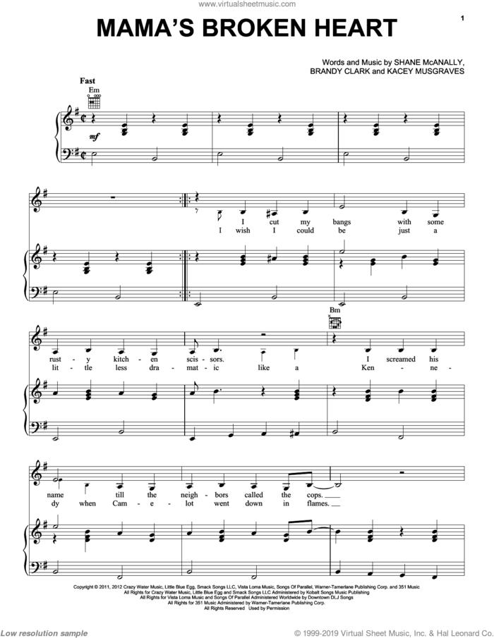 Mama's Broken Heart sheet music for voice, piano or guitar by Miranda Lambert, Brandy Clark, Kacey Musgraves and Shane McAnally, intermediate skill level