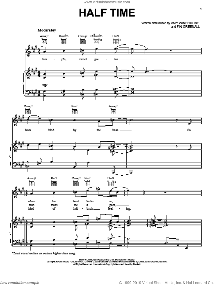 Half Time sheet music for voice, piano or guitar by Amy Winehouse and Fin Greenall, intermediate skill level