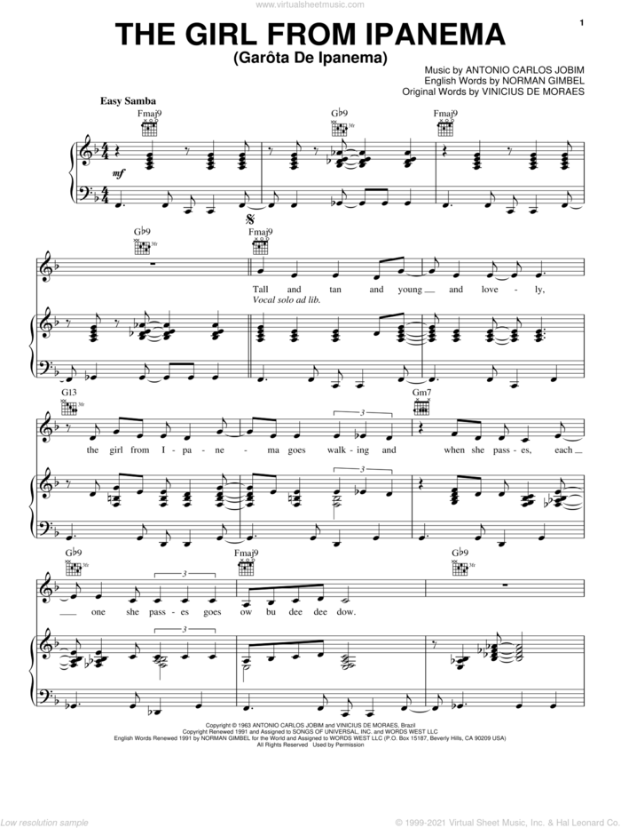 The Girl From Ipanema (GarA'ta De Ipanema) sheet music for voice, piano or guitar by Amy Winehouse, Antonio Carlos Jobim, Norman Gimbel, Stan Getz & Astrud Gilberto and Vinicius de Moraes, intermediate skill level