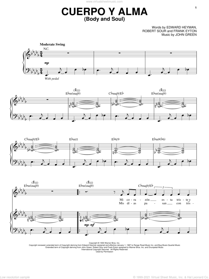 Cuerpo Y Alma (Body And Soul) sheet music for voice and piano by Esperanza Spalding, Edward Heyman, Frank Eyton, Johnny Green and Robert Sour, intermediate skill level