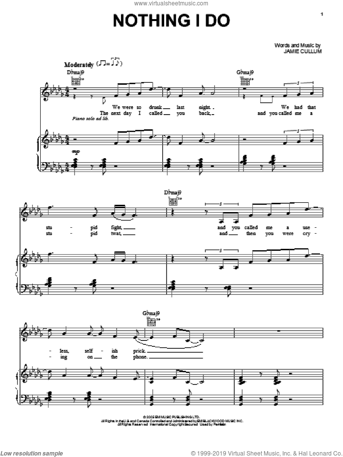 Nothing I Do sheet music for voice, piano or guitar by Jamie Cullum, intermediate skill level
