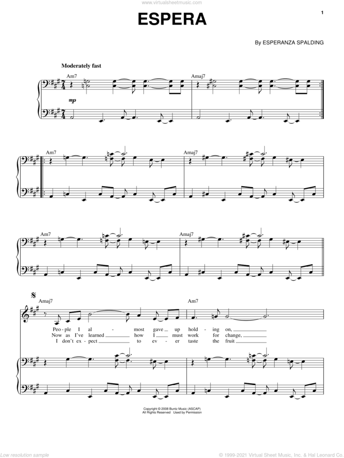 Espera sheet music for voice and piano by Esperanza Spalding, intermediate skill level