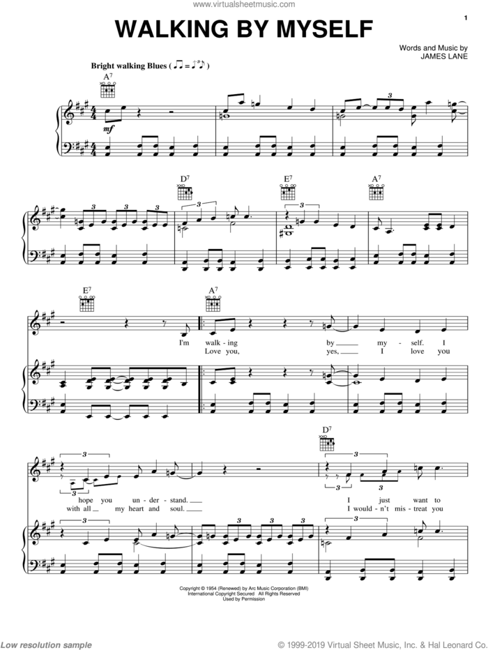 Walking By Myself sheet music for voice, piano or guitar by Jimmy Rogers and James Lane, intermediate skill level