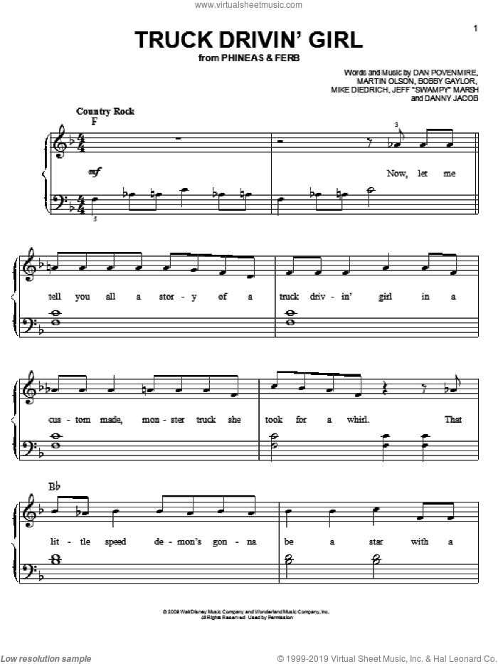 Truck Drivin' Girl sheet music for piano solo by Danny Jacob, Phineas And Ferb, Bobby Gaylor, Dan Povenmire, Jeff 'Swampy' Marsh, Martin Olson and Mike Diedrich, easy skill level