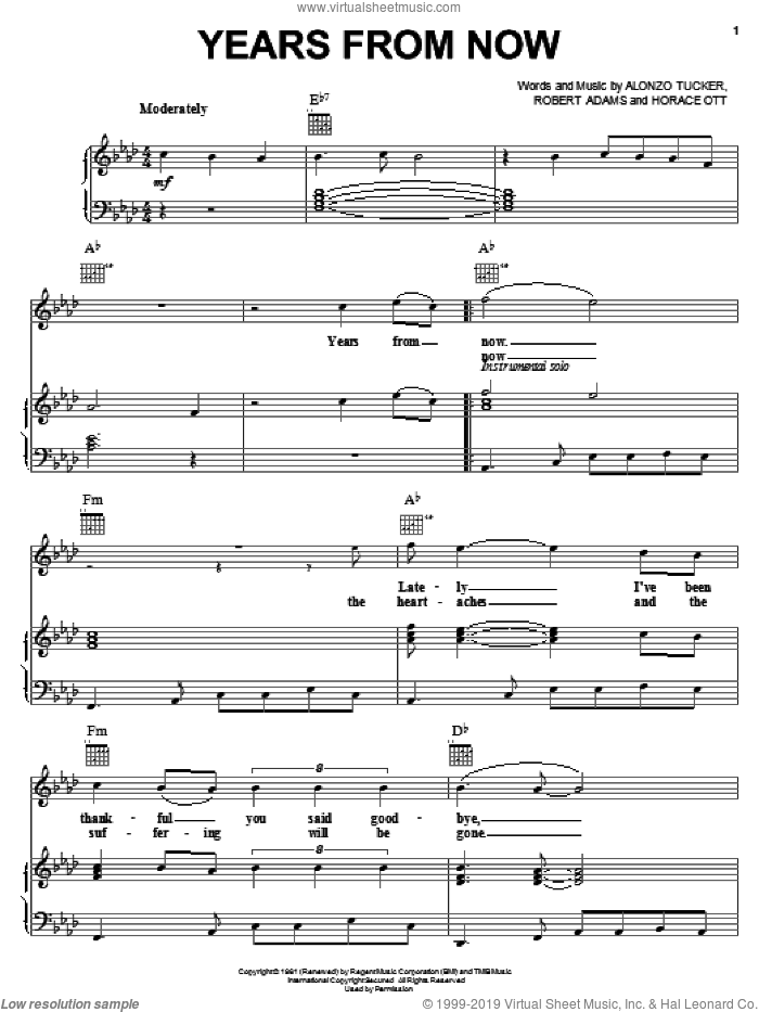 Years From Now sheet music for voice, piano or guitar by Jackie Wilson, Alonzo Tucker, H. Ott and R. Adams, intermediate skill level