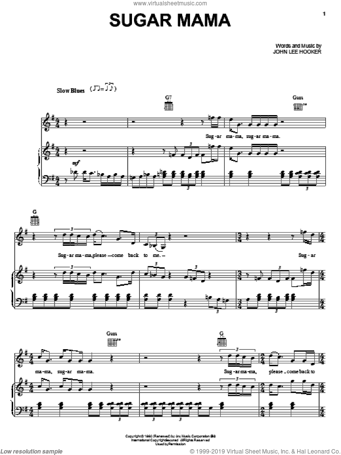 Sugar Mama sheet music for voice, piano or guitar by John Lee Hooker, intermediate skill level