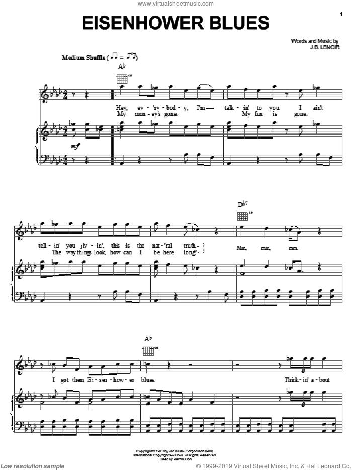 Eisenhower Blues sheet music for voice, piano or guitar by J.B. Lenoir, intermediate skill level