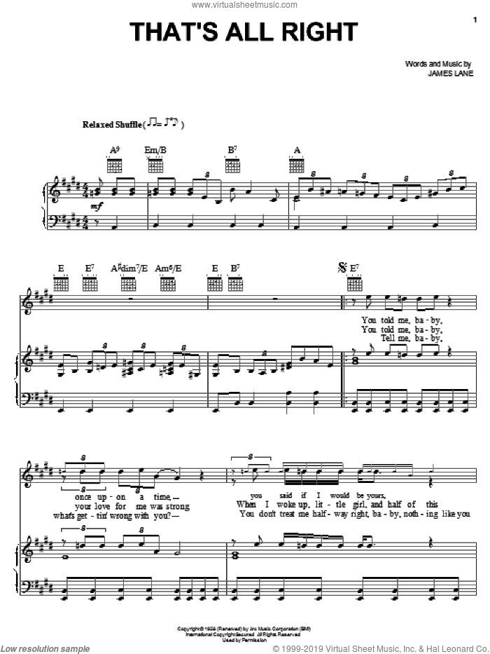 That's All Right sheet music for voice, piano or guitar by Jimmy Rogers and James Lane, intermediate skill level