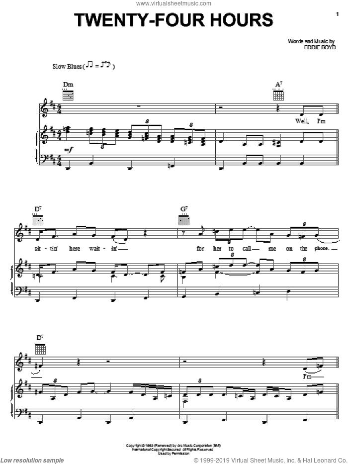 Twenty-Four Hours sheet music for voice, piano or guitar by Eddie Boyd, intermediate skill level