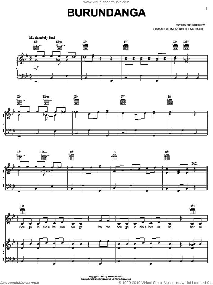 Burundanga sheet music for voice, piano or guitar by Celia Cruz and Oscar Munoz Bouffartique, intermediate skill level