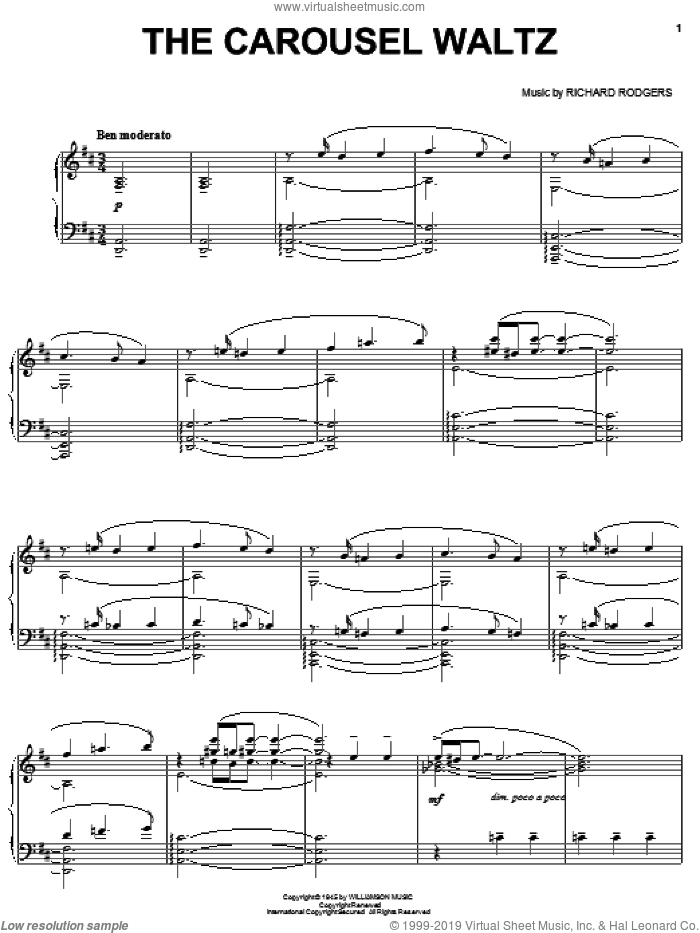 The Carousel Waltz sheet music for piano solo by Rodgers & Hammerstein, Carousel (Musical) and Richard Rodgers, intermediate skill level