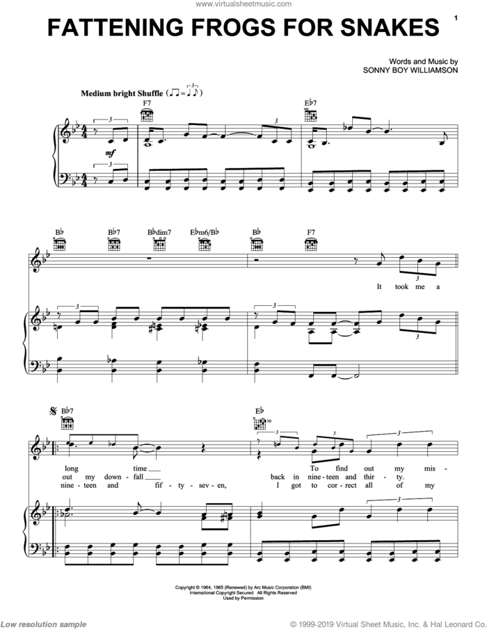 Fattening Frogs For Snakes sheet music for voice, piano or guitar by Sonny Boy Williamson, intermediate skill level