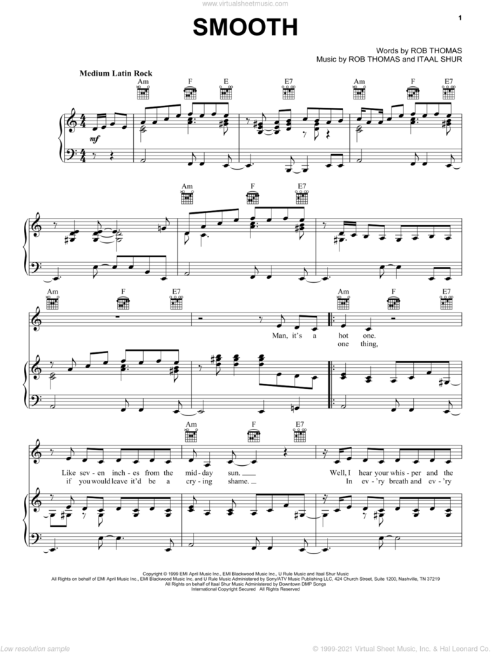 Smooth sheet music for voice, piano or guitar by Santana featuring Rob Thomas, Carlos Santana, Itaal Shur and Rob Thomas, intermediate skill level